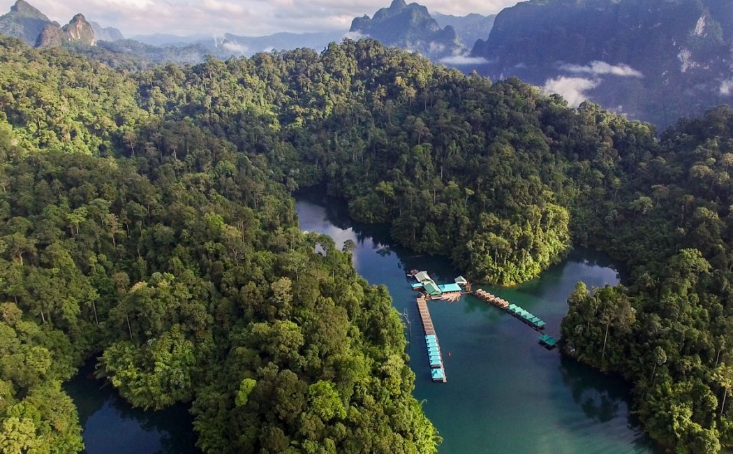 Prai Wan Raft House Aerial View, Khao Sok Lake